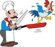 Cuoco e pollo Fotografie Stock