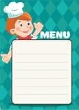 Cuoco felice Boy With del fumetto accessori di una cucina, immagine di vettore Modello del menu del caffè Fotografia Stock Libera da Diritti