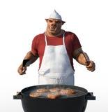 Cuoco Grilling Meat di Porkman Fotografie Stock Libere da Diritti