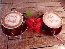 Cuoco Islands di Rarotonga di arte di crema del caffè Immagini Stock Libere da Diritti
