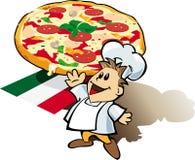 Cuoco italiano del cuoco unico con il gigante della pizza illustrazione vettoriale