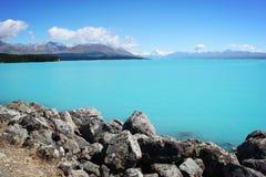 Cuoco Lake Pukaki di Mt Fotografia Stock Libera da Diritti
