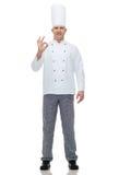 Cuoco maschio felice del cuoco unico che mostra segno giusto Fotografia Stock Libera da Diritti