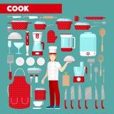 Cuoco professionista Icons Set con gli utensili della cucina Immagine Stock Libera da Diritti