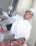 Cuoco unico al macellaio Fotografia Stock