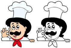 Cuoco unico appostantesi del fumetto Immagini Stock