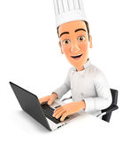 cuoco unico capo 3d che lavora al computer portatile illustrazione di stock