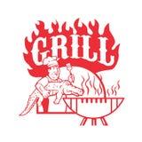 Cuoco unico Carry Gator Grill Retro del BBQ Fotografia Stock