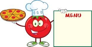Cuoco unico Cartoon Mascot Character del pomodoro che tiene un bordo del menu e della pizza Immagine Stock
