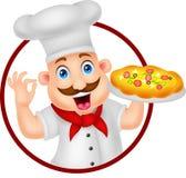Cuoco unico Character With Pizza del fumetto Fotografia Stock Libera da Diritti