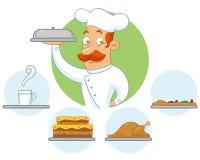 Cuoco unico che consegna un ordine Fotografia Stock
