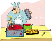 Cuoco unico che cucina alimento Fotografie Stock