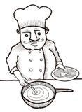Cuoco unico che cucina alimento Fotografia Stock