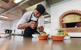 Cuoco unico che cucina alimento alla cucina commerciale immagini stock libere da diritti