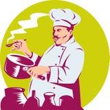 Cuoco unico che cucina e che assagia alimento Immagini Stock Libere da Diritti