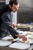 Cuoco unico che cucina per la cena Immagini Stock Libere da Diritti