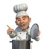 Cuoco unico che cucina un pasto Fotografie Stock Libere da Diritti