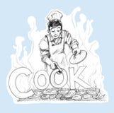 Cuoco unico che cucinano progettazione di logo del BBQ disegnata a mano e colpo della matita Immagini Stock