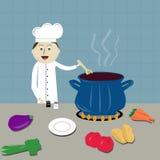 Cuoco unico che fa l'illustrazione della minestra Fotografie Stock Libere da Diritti