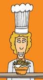 Cuoco unico che fissa alle fritture Immagini Stock Libere da Diritti
