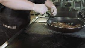 Cuoco unico che prepara i pesci deliziosi sulla padella in dorado del dimenamento del ristorante dei frutti di mare archivi video