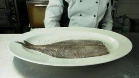 Cuoco unico che prepara pesce in ristorante video d archivio