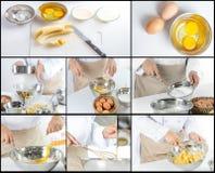 Cuoco unico che produce banana agglutinare immagine stock