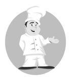 Cuoco unico che propone gradazione di grigio Immagini Stock