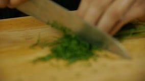 Cuoco unico che taglia aneto a pezzi video d archivio