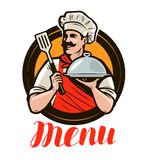 Cuoco unico che tiene un vassoio, campana di vetro Menu di progettazione per un ristorante o un caffè Illustrazione di vettore de illustrazione di stock