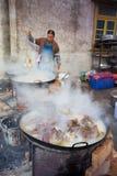 Cuoco unico cinese della campagna che cucina le carni Immagini Stock Libere da Diritti