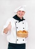 Cuoco unico con i panini Fotografia Stock