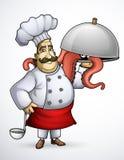 Cuoco unico con i piatti della firma dei tentacoli Fotografia Stock Libera da Diritti