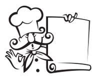 Cuoco unico con il menu Fotografia Stock