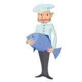 Cuoco unico con il pesce Fotografia Stock Libera da Diritti