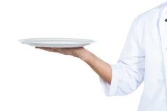 Cuoco unico con il piatto Immagini Stock