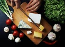 Cuoco unico con il piatto di formaggio Fotografia Stock Libera da Diritti