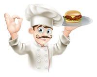 Cuoco unico con l'hamburger royalty illustrazione gratis