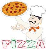 Cuoco unico con la pizza Fotografie Stock