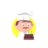 Cuoco unico con la torta di compleanno Immagini Stock Libere da Diritti