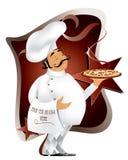 Cuoco unico con pizza Fotografie Stock Libere da Diritti