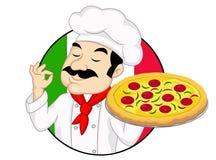 Cuoco unico con pizza Immagini Stock