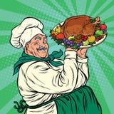 Cuoco unico con un arrosto Turchia del piatto royalty illustrazione gratis
