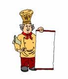 Cuoco unico con un menu su un fondo bianco Fotografia Stock