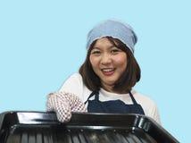 Cuoco unico Cooking della donna fotografia stock libera da diritti