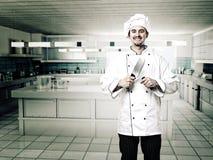 Cuoco unico in cucina Fotografia Stock