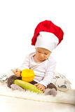 Cuoco unico del bambino con le verdure Fotografia Stock