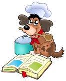 Cuoco unico del cane del fumetto con il libro di ricetta Immagine Stock