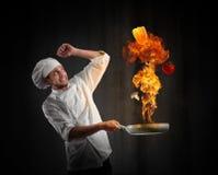 Cuoco unico del cuoco con il problema in cucina Fotografia Stock Libera da Diritti