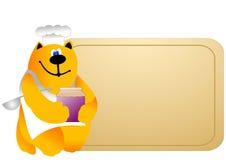 Cuoco unico del gatto con la scheda in bianco Fotografia Stock Libera da Diritti